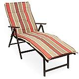 Kozyard Cozy Aluminum Beach Yard Pool Folding Reclining 7 Adjustable Chaise Lounge Chair (Beige with Red Cushion)