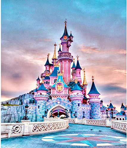 Diamond Painting Kits for Adults Kids, DIY 5D Round Full Drill Crystal Art Picture, Paint by Numbers for Adults Kids Beginner Supplies Arts Craft, Home Wall Sticker Decor Disney Castle 11.8x15.75inch
