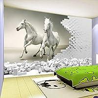 LHGBGBLN 3Dリビングルーム壁画壁紙三次元白い馬ソファ背景壁ステッカー寝室の壁紙壁アート装飾