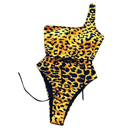Costume da Bagno Intero da Donna Leopardato,Cintura Monospalla Bikini,VRTYOC Costume da Bagno Push-Up da Bagno Intero di Leopardo da Donna SexyGialloM