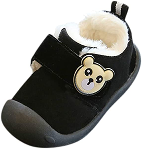 Kauneus Boys Girls Lovely Bear Fully Fur Lined Winter Shoes Toddler Infant First Walker Shoes Toddler Little Kid Big Kid