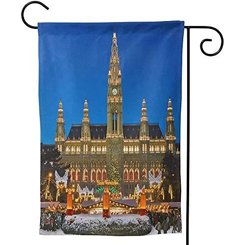 Zome Lag Mercado de Navidad de Viena Invierno Nieve Fiesta Festiva Decorativa Exterior Jardín de Doble Cara Bandera S