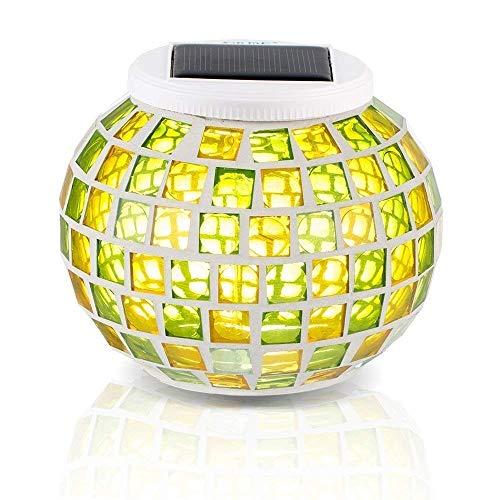 Bestland LED Solarlampe Farbwechsel Mosaik Lampe Wasserdichte Solarleuchte Kristall Glaskugel Wechselndene Schöne Lampen Tischlampe Nachtlicht für Garten, Patio, Tabelle, Innen- Dekorationen (Grün&Gelb)