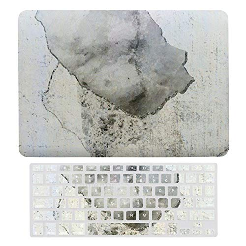 Laptop Screen Case for MacBook Air 13 & New Pro 13 Touch, Grey Marble Block Keyboard Cover Screen Protector Shell Set