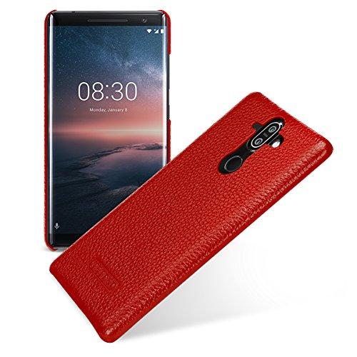 Tetded Premium Leder Schutzhülle für Nokia 8Sirocco Dual Sim, Snap Cover, Rot