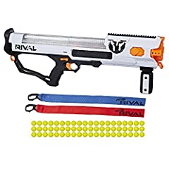 High capacity blaster includes 60 rounds Easy-load integrated magazine Spring-action mechanism, trigger lock, and tactical rail Fires rounds at 100 feet per second (30 meters per second) Includes blaster, 60 rounds, 2 flags, and instructions. Ages 14...