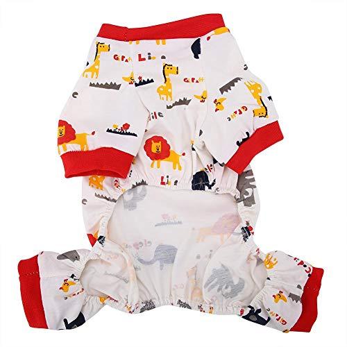 Kleding voor huisdieren, ademende katoenen jumpsuit cartoon olifant patroon outfit kleding kostuums voor hond kat (l)