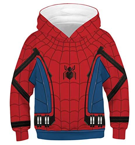 Silver Basic Super Hero Bambino Costume Cartone Animato 3D Stampa Felpa con Cappuccio Maglia,Spiderman A-4,XL