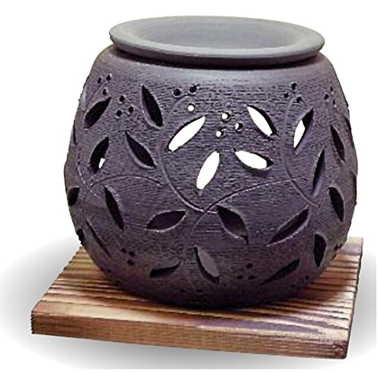 無し無意識柔らかい足常滑焼 茶香炉(アロマポット)径10×高さ9cm