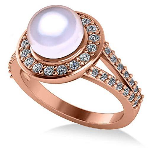 Anillo de compromiso con halo de Perla y Diamante 14k Oro rosa 8mm (0.54ct), Anillo de compromiso de oro Por siempre uno, Anillo de matrimonio, Promesa Oro Anillo