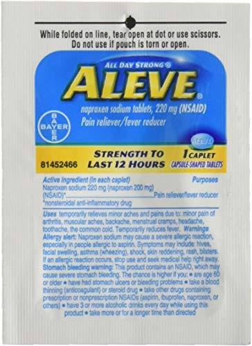 Aleve Individual Sealed 1 Caplet in a Packet (Box of 48 Packets)