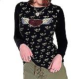 ZZLBUF Camiseta de manga larga con estampado de diamantes de imitación de mujer, Negro, XL