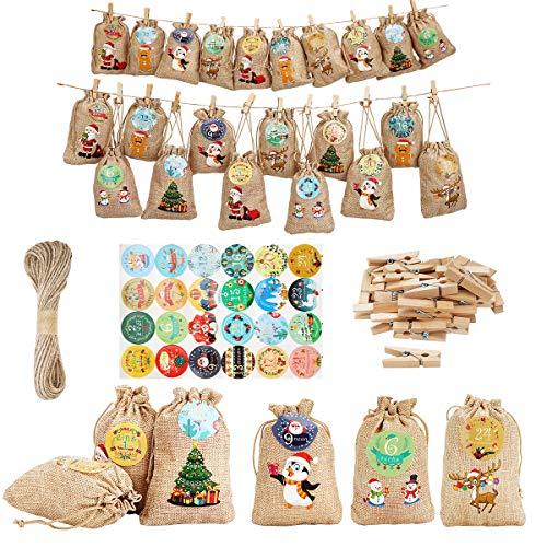 Herefun 24 Pezzi Sacchetto Regalo di Natale Riutilizzabile, Natale Calendario Decorazione Fai da Te con Clip di Legno,...