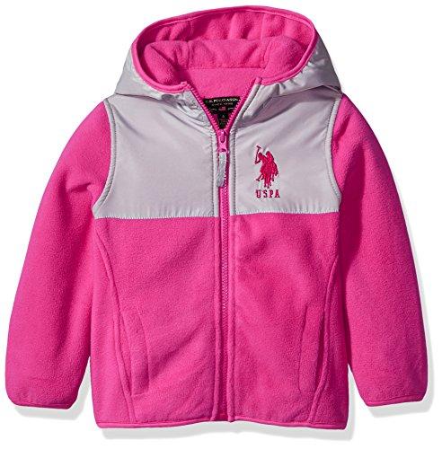 US Polo Association Baby Toddler Girls' Fashion Outerwear Jacket (More Styles Available), Dewspo-UA93-Fuchsia, 3T