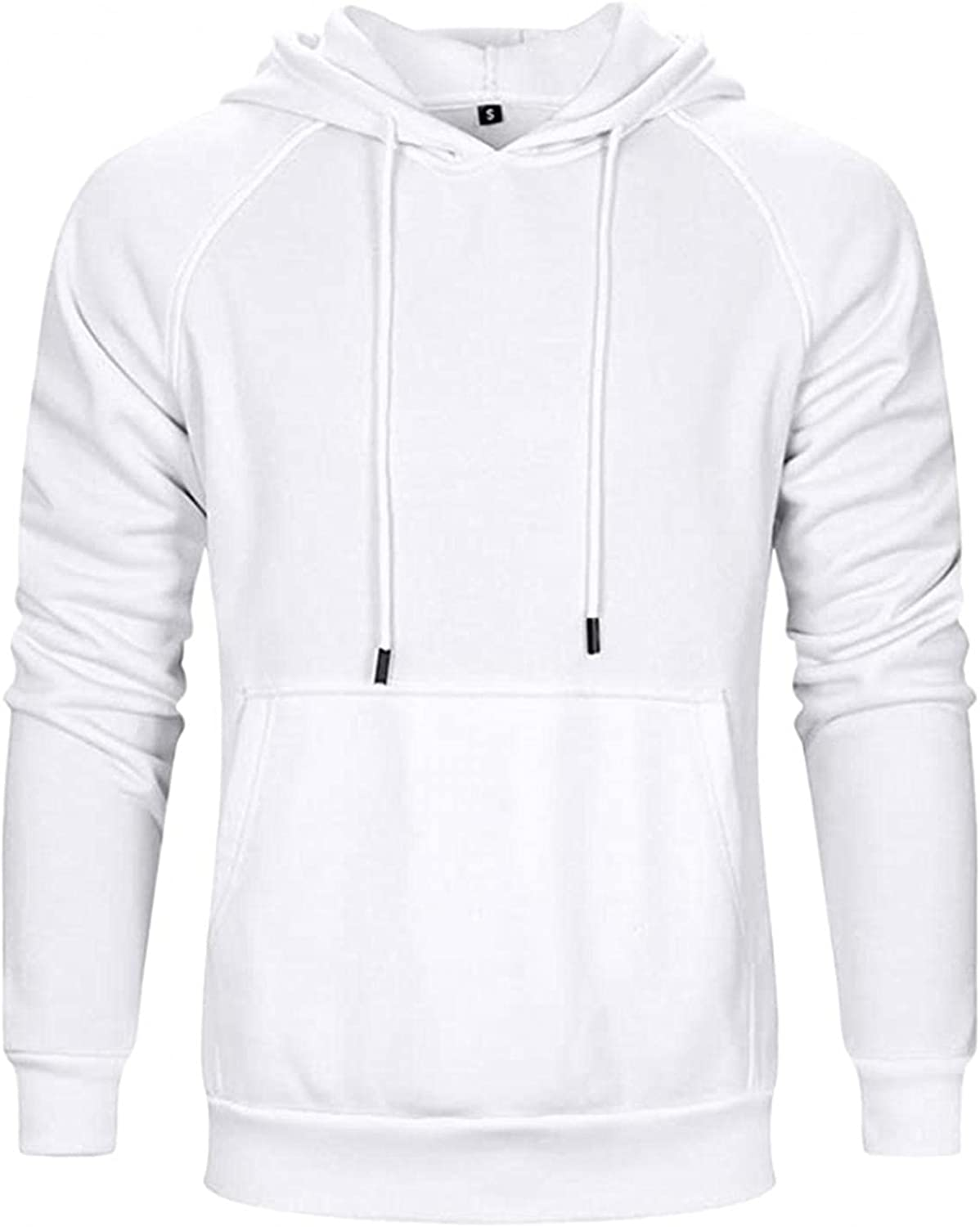 Men's Hoodies Pullover, Mens Autumn Winter Casual Long Sleeve Solid Soft Sports Outwear Hooded Sweatshirts with Pockets