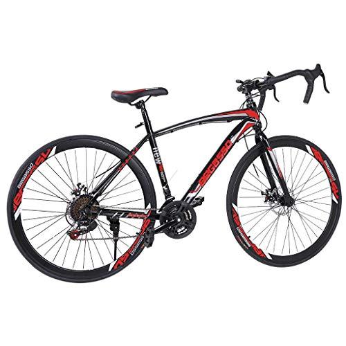 Aluminum Road Bike, Full Suspension Road 700C Wheel Bike, 21 Speed 3 Spoke ??Disc Brakes, Road Bicycle for Men and Women (Red)
