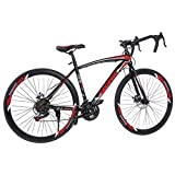 Aluminum Road Bike, Full Suspension Road 700C Wheel Bike, 21 Speed 3 Spoke ??Disc Brakes, Road Bicycle for Men and Women (Red)