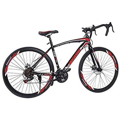 700c Road Bike City Commuter Bicycle with 21 Speeds Drivetrain, Mens/Womens Hybrid Road Bike Aluminum Full Suspension Road Bike for Intermediate to Advanced Riders (Red)