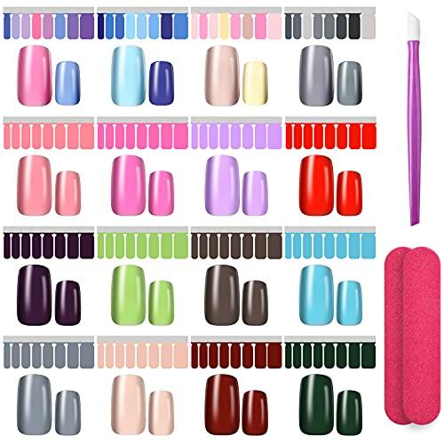 Nagelfolie Selbstklebend, 256 Stücke Nagellack zum Aufkleben mit 2 Nagelfeilen und Einem Gummi Nagel Nagelhautschieber