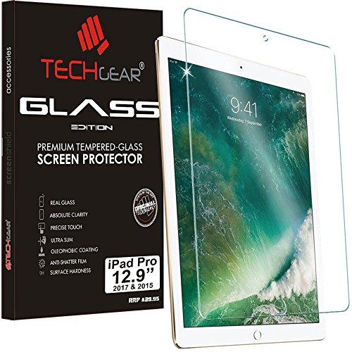 TECHGEAR Panzerglas für iPad Pro 12,9 Zoll 2017/2015 - Panzerglasfolie Anti-Kratzer Schutzabdeckung kompatibel mit iPad Pro 12,9 Zoll 2017 & 2015
