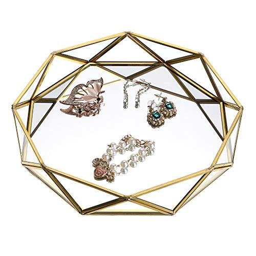 Sumnacon - Bandeja decorativa de metal con cristal espejado, ideal para maquillaje, como organizador de joyas y como bandeja para perfume, diseño de prisma, color dorado, tamaño grande