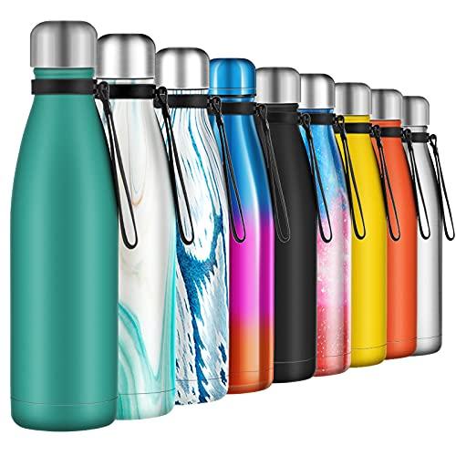 Borraccia Termica 500ml, Senza BPA, Bottiglia Acqua in Acciaio Inox Sottovuoto a Doppia Parete, per Campeggio di Sport Esterni Escursionismo Escursioni in Bicicletta, Verde