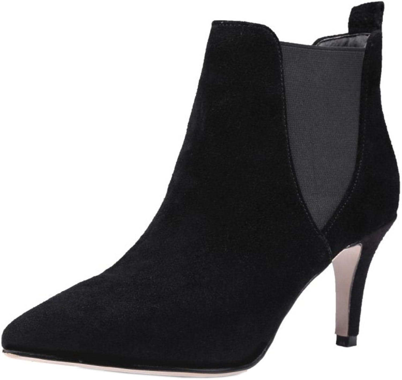 KemeKiss Women Fashion High Heels Dress shoes Chelsea Boots Elastic