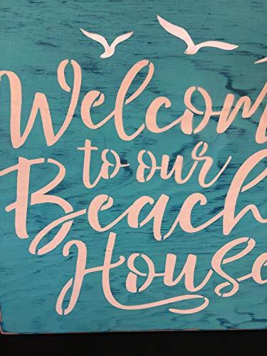 Ced454sy Welcome to our Beach House Ocean Decor Holzschild Schwimmen Terrasse Schilder Außenschilder Pool Decor