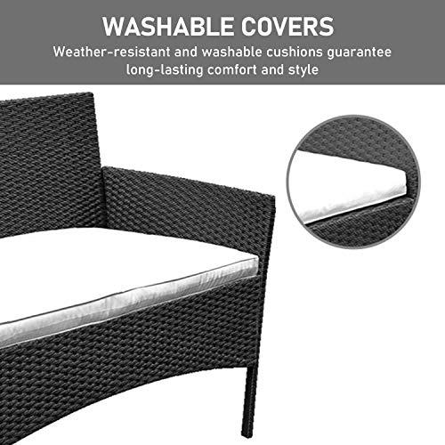 Hengda Polyrattan Lounge Sitzgruppe für 4 Personen inkl. Sitzpolster und Tisch, Braun, Komfortabel Gartenmöbel Terrassenmöbel für Balkon, Garten, Terrasse - 7