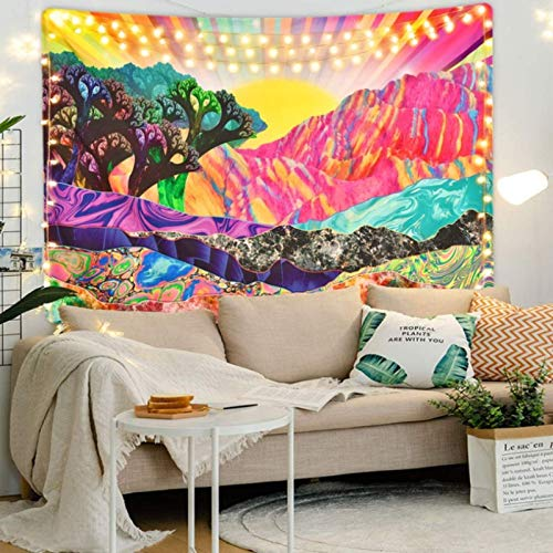 CARPET-STORE Hippie decoración para el hogar Tapiz Manta Mandala Tapiz para Colgar en la Pared patrón psicodélico Yoga Throw Playa Alfombra