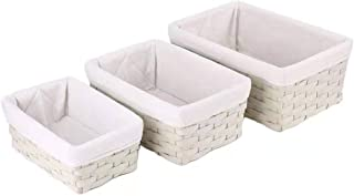 Hosroome Handmade Storage Basket Set Shelf Baskets with Liner Woven Decorative Home Storage Bins Organizing Baskets Nestin...