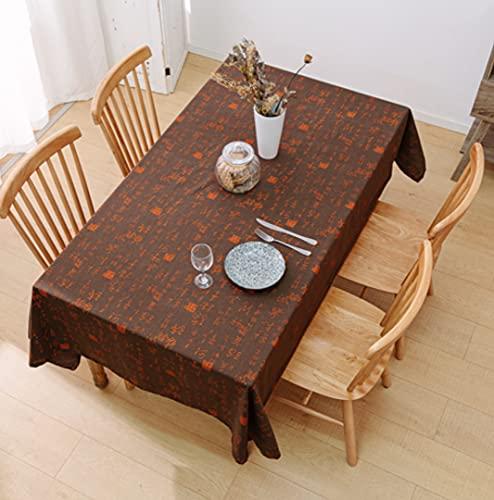 laokudy Mantel para el hogar Caligrafía China Protector de Fiesta marrón Mantel de Lino Cubierta de Mesa al Aire Libre Alfombrilla de Mesa de algodón para Escritorio Decoración140 * 200cm
