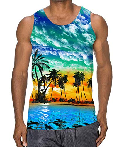 Men Graphic Tank Tops Casual Beach Sleeveless Vest Young Juniors Workout Sportwear Funny Hawaiian Vacation Shirt Top Tee M