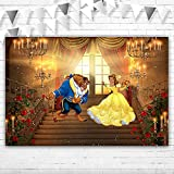 African Beauty and The Beast Baby Shower Backdrop 5x3ft Rose Palace Beauty and The Beast Ballroom Backdrop for Girl Sweet 16th Birthday Vinyl Beauty and Beast Library Backdrops for Photography