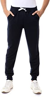 Off Cliff Cotton Contrast Side Stripe Drawstring-Elastic Waist Slim-Fit Sweatpants for Men - Navy and White, XXL