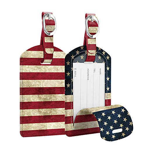 2 Pack Luggage Tags, Fintie PU Leather Name ID Labels with Privacy Cover for Travel Bag Suitcase (US Flag)