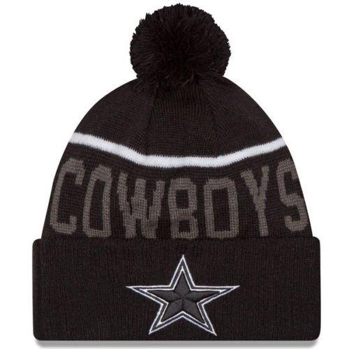b9e4e406a5f New Era Knit Dallas Cowboys Black On Field Sideline Winter Stocking Beanie Pom  Hat Cap 2015
