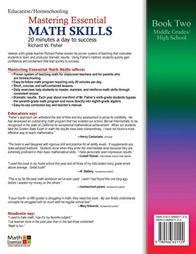Mastering Essential Math Skills, Book Two, Middle Grades/High School: 20 Minutes a Day to Success