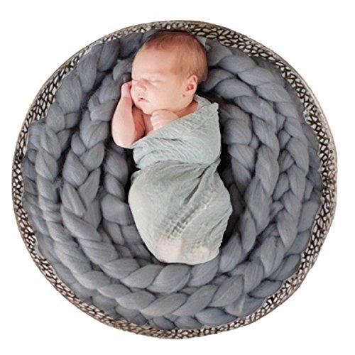 Happy Cherry Baby Fotografie Neugeborenen Fotoshooting wickeln Requisiten Strickstoff Stretch Teppich Foto Prop-0-6 Monate-Grau