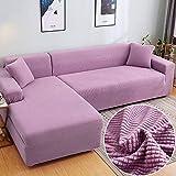HUANXA Samt Elastisch Sofa Abdeckung für Ecksofa, 1 2 3 Sitzer Sofabezug Sofahusse für Sectional Sofa -1 Sitzer90-140cm-Helles Lila