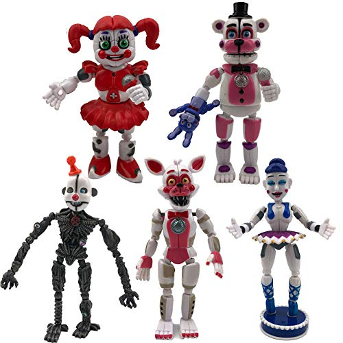 Toys Unique New Inspired by Five Nights at Freddy's Sister Set of 5 pcs, More Than 5 inches [Funtime Freddy, Circus Baby, Enard, Belora, Funtime Foxy]