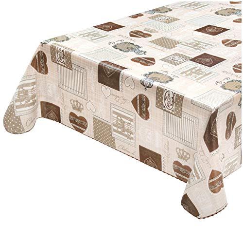 emmevi Tovaglia Cucina Antimacchia Bordata Cotone Plastificato Robusto Casa Moderna MOD.CINZ170 120X160