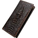 Itslife Men's RFID BLOCKING Vintage Look Genuine Leather Long Bifold Wallet Rfid Checkbook Wallets (Gator)