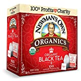 Newman's Own Organics Black Tea, 100 Individually Wrapped Tea Bags (Pack of 5)