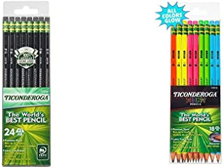 Ticonderoga Pencils, Wood-Cased, Graphite #2 HB Soft, Black, 24-Pack (13926) & Neon..