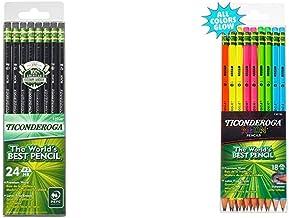 Ticonderoga Pencils, Wood-Cased, Graphite #2 HB Soft, Black, 24-Pack (13926) & Neon Pencils, 2 Pre-Sharpened Wood Pencils ...