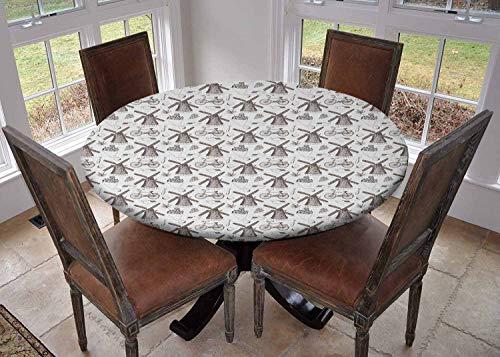 Ronde tafelkleden keukendecoratie, tafelkleed met elastische randen, Traditionele Holland Cultuur Elementen met Doodle Stijl Klompen Fietsen Oranje Marineblauw en Wit, Feesttafelkleden