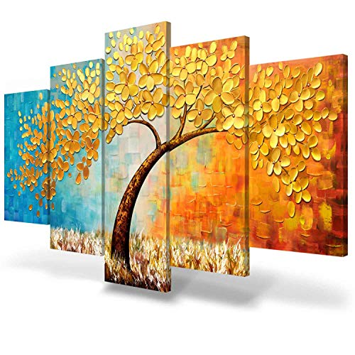 JIMHOMY Modern Floral Abstract Artwork 5 Piece Canvas Wall Art Gold Flowers and Tree Wall Décor Prints Paintings for Living Room Office Decorations Ready to Hang Stretched Non-Handmade