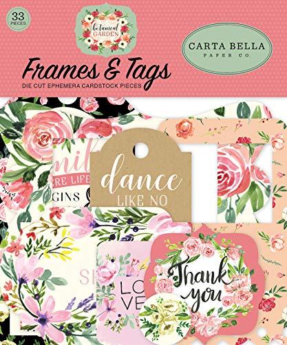 Carta Bella Paper Company - Marcos y etiquetas para jardín botánico, color rosa, verde, negro, rojo, crema