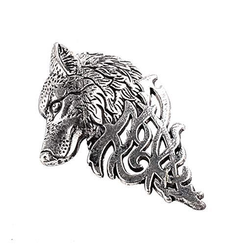 Dosige Broche de joyería de la Personalidad de la Vendimia de Moda de los Hombres Traje de Cuello Aguja Domineering Cabeza de Lobo Broche Pin Collar Size 6 * 3cm (Plata)